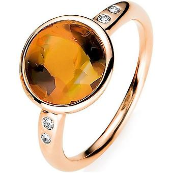 Gemstone ring with brilliant ring 750/red gold - 0.05 ct.