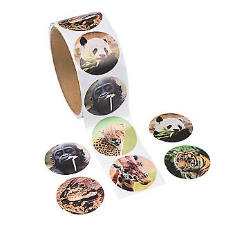 Roll of 100 Wild Animal Photo Stickers for Kids Crafts