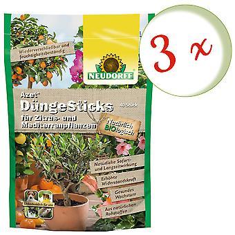 Sparset: 3 x NEUDORFF Azet® DüngeSticks für Zitrus- & Mediterranpflanzen, 40 Sticks