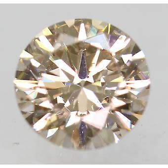 Cert 0.54 Carat Light Brown VVS2 Round Brilliant Natural Diamond 5.22mm EX CUT
