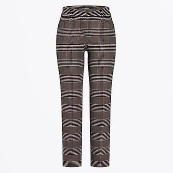 Cambio  - Felicity - Checked Pants With Stripe - Brown