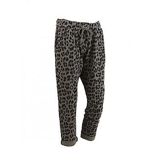 Womens Leopard Print Classic Cotton Slouch Trousers | Khaki | One Size
