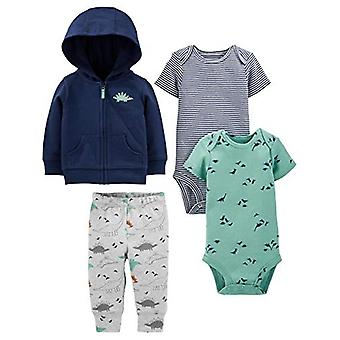 Simple Joys by Carter's Boys' 4-Piece Jacket, Pant, and Bodysuit Set, Navy Di...