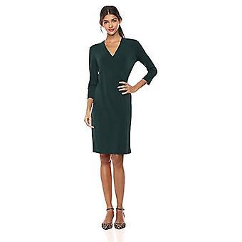 Marca - Lark & Ro Mujeres's Crepe punto vestido de imitación, Hunter verde 10
