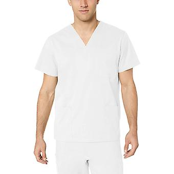 Essentials Men's Quick-Dry Stretch Scrub Top, White, X-Large