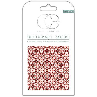 Craft Consortium Red Nordic Repeat Decoupage Papers