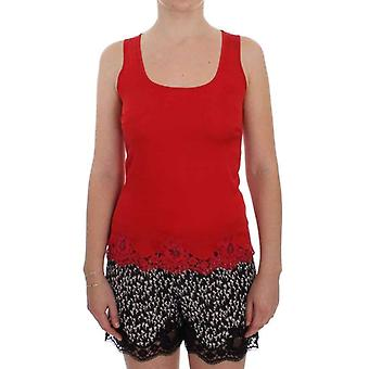 Dolce & Gabbana Red Silk Stretch Camisole Lingerie Blouse -- SIG3544965