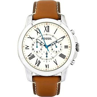 Fossil FS5060 Grant Chronograph White Dial Tan Leather Men's Watch