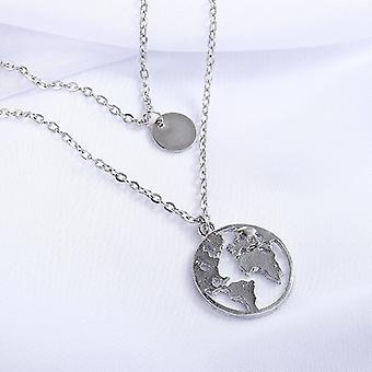 Silver Double Layered World Map Necklace