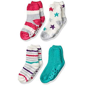 Essentials Girl's 4-Pack Slipper Socks, Pink Stars and Stripes, XS/S