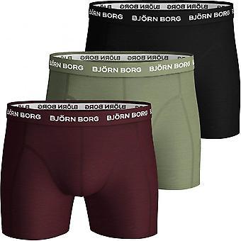 ביורן בורג 3-Pack מכנסי בוקסר צבעוניים, בורגונדי/ חאקי/ שחור