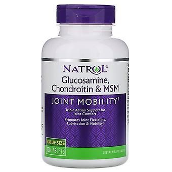 Natrol, Glucosamine, Chondroitine & MSM, 150 comprimés