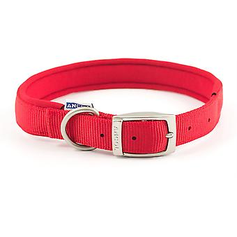 Ancol Padded Nylon Buckle Collar - Red - 22 inch