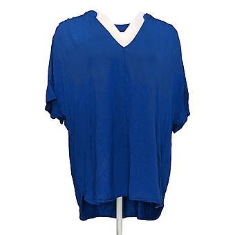 Lisa Rinna Colección Mujer's Regular Top Hi-Low Popover Azul A379709