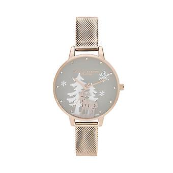 Olivia Burton Watches Ob16aw01 Women's Winter Wonderland Pale Rose Gold Mesh Watch