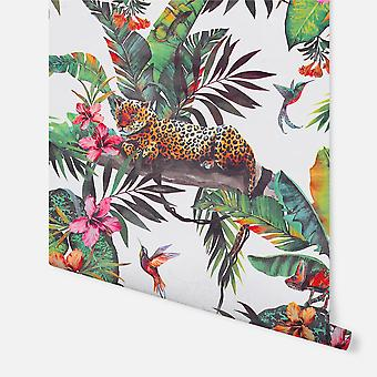 908505 - Animal Jungle White Multi - Arthouse Wallpaper