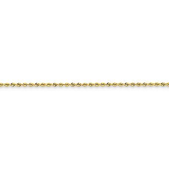 14k Yellow Gold Solid Sparkle Cut 2mm Handmade Regular Rope Chain Bracelet - Length: 6 to 10