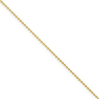 14k Yellow Gold Solid Polished Lobster Claw Closure 1mm Cable Chain Necklace - Length: 14 to 30