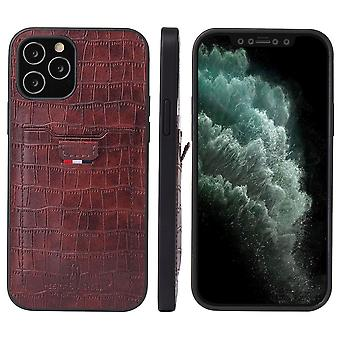 For iPhone 12 mini Case Crocodile Pattern PU Leather Card Slot Cover Brown