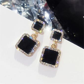 Black and Gold Crystal Encrusted Square Drop Earrings