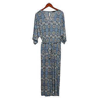 Nina Leonard Jumpsuits Matte Jersey Printed One-Piece Blue 643-198