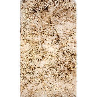 2' x 3' קרם כהה ניו זילנד שטיח עור כבש טבעי