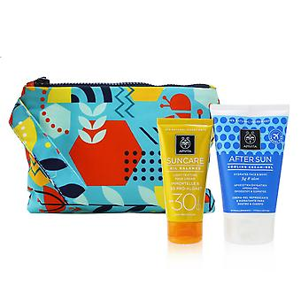 Suncare gift set: oil balance face cream (immortelle & 3 d pro algae) spf30 50ml + after sun cooling cream gel 100ml 256700 2pcs+1pouch