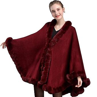New Ladies Cape Rex Rabbit Fur Collar Shawl To Keep Warm Soft Plush Fashion Shawl Big Lace Hem