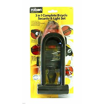 ROLSON 3 IN 1 COMPLETE BICYCLE SECURITY LOCK & LIGHT SET WITH BRACKET+ BATTERIES