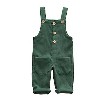 Toddler Kids Warm Corduroy Overalls Pants- Solid Color Thicken Casual Bib