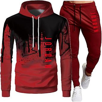 Men's Mode Brief Druck Herbst Casual Sport Anzug Splicing Hoodie