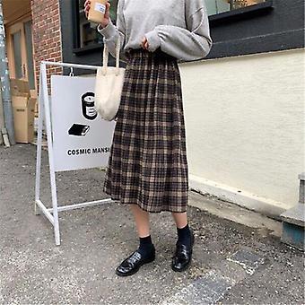 Vintage wełna plisowana spódnica w kratę kobiety wysoka talia plus rozmiar długa jesień zima