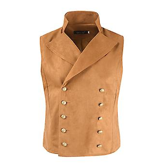 Men's Slim-fit Solid Color Two-breasted Suit Collar Vest