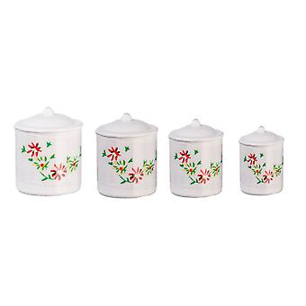 Dolls House Miniatyyri 1:12 Vaa'an keittiön lisävaruste Valkoinen Kanisterisetti Fleur