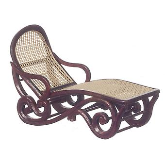 Dolls House Mahogany & Cane Safari Lounge Chair Sun Lounger Platine