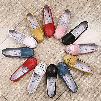 Women Genuine Leather Cut Out Loafers Slip On Ballet Flats Shoes