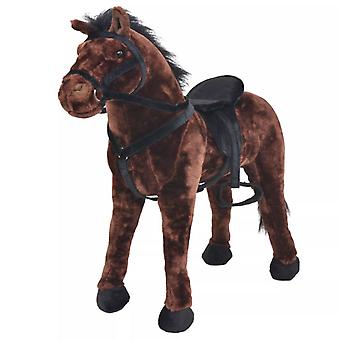 vidaXL Plush Toy Standing Horse Dark Brown XXL