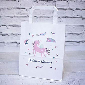 White Handled Unicorn Paper Party Gift Bags Set of 10 I Believe in Unicorns