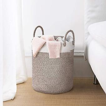 La Jole Muse Large Storage Basket - Cotton Rope Laundry Basket with Handle