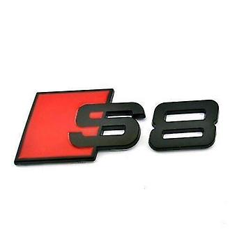 S8 Matt Black/Red Metal Back Car Rear Boot Badge Emblem Lid Trunk Stick On