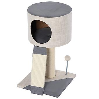 PawHut Cat Tree Stand with Sisal Scratching Posts Scratching Funny Ball Condo, Grey