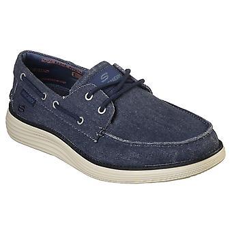 Skechers رجال الحالة 2.0 لورونو الدنيم حذاء عارضة