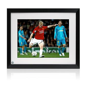 Paul Scholes Signed Manchester United Photo: Barcelona Goal. Framed