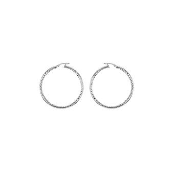 Eternity Sterling Silver Ladies Large 50mm Diamond Cut Hoop Boucles d'oreilles