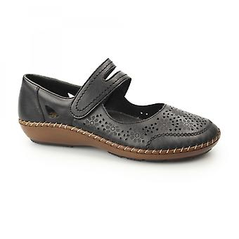 Rieker 44875-00 Ladies Leather Mary Jane Touch Fasten Shoes Black