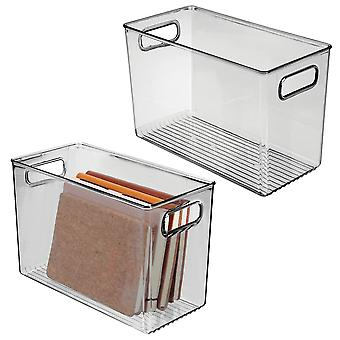 mDesign Storage Organizer Bin, Handles for Cube Furniture, 2 Pack - Smoke Gray