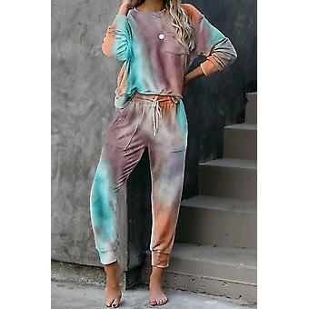 Multicolor Tie-dye Knit Pant Lounge Set
