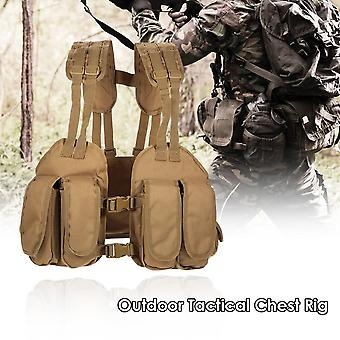 Outdoor tactical chest rig adjustable padded modular military vest mag pouch magazine holder