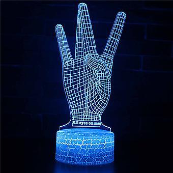 3D Optisk illusionslampa LED Night Light, 7 färger Touch Bedside Lamp Bedroom Table Art Deco Child Night Light med USB Cable Novelty Christmas Birthday Gift-#343