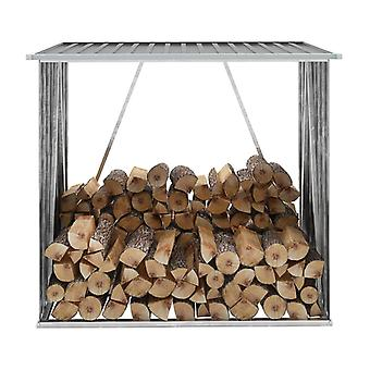Gartenholzlagerschuppen verzinkter Stahl 163x83x154 Cm Grau